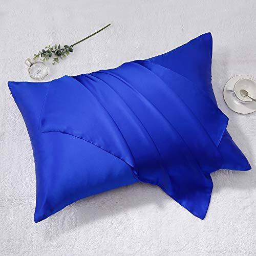 Best Season Queen Size Silk Pillowcases Set of 2,100% Mulberry/Pure Silk Pillow Case for Hair and Skin,Wrinkle,Fade Resistant Pillow Covers with Hidden Zipper (Royal Blue Color, 20''x30'')