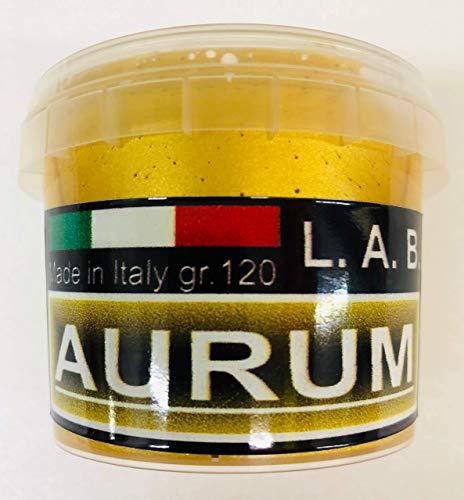 L.A.B. Pintura Acrilica Metalizada Dorado Efecto Pan de Oro, Uso Interno y Externo, Gr. 120 ( Ml. 125 ) NEW FORMULA (1)