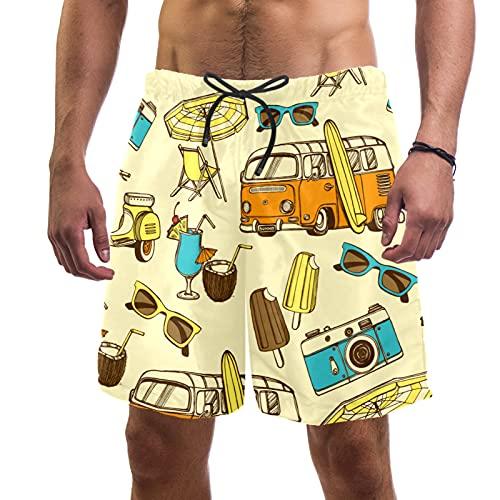 Vockgeng Pantalones Cortos para Hombre Motocicleta de la cámara del autobús con Traje de baño con cordón Shorts de Playa Coloridos para Hombres Niños M