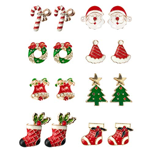 TEZCRT pack of 8 Christmas Themed Stud Earring kit with Delicate Designed Packages, Cute Festive Stud Earrings Pack for Teens Girls Women, Holiday Party Jewelry Accessories, Set-2