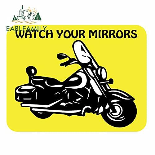 A/X 13 cm x 10 cm para Ver Tus Espejos Letrero Amarillo Pegatinas de Coche calcomanía Motocicleta Maletero Parachoques Parabrisas Vinilo Envoltura de Coche