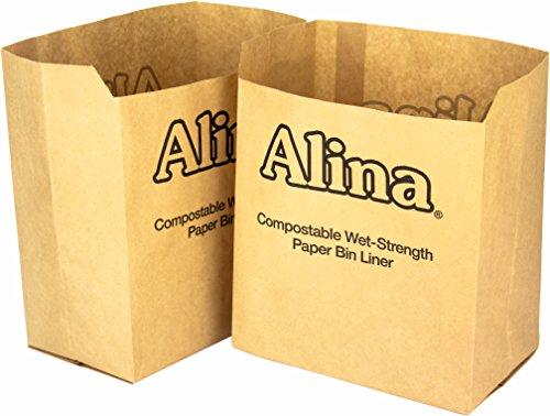 50 x Alina 6L bis 8L bioabfalltüten Papier/Lebensmittel Abfallbehälter/biologisch abbaubarer brauner 7 Liter Papiersack