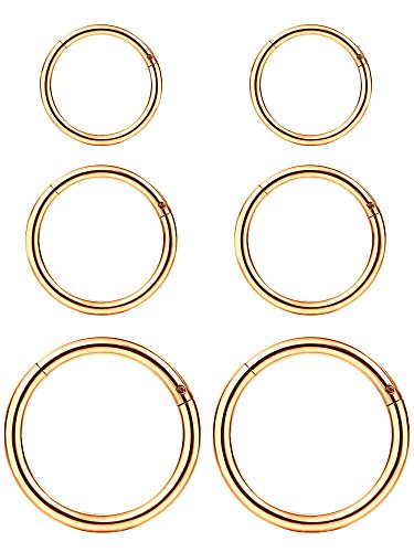 6 Pieces 16 Gauge Stainless Steel Nose Ring Hoop Seamless Clicker Ring Ear Lip Piercing Jewelry, 3 Sizes (Rose Gold)