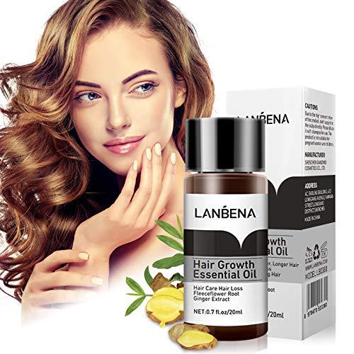 LANBENA Haarwachstumsserum, Haarwachstumsöl, organisches Haarwachstumsserum, ätherisches Öl für dickeres, längeres, stärkeres Haar Haarverdichtung und Haarausfall-Behandlung(0,7 Fl Oz/20 ml)