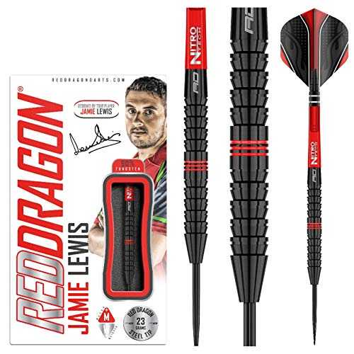 RED DRAGON Jamie Lewis 23g Tungsten Darts mit Flights und Schäfte
