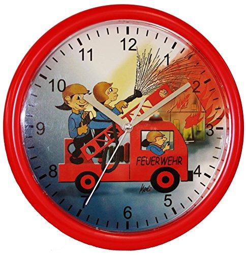 Eurotime Kinder Wanduhr Feuerwehr, kein Ticken, schleichende Sekunde (geräuscharm) 25 cm; 80026