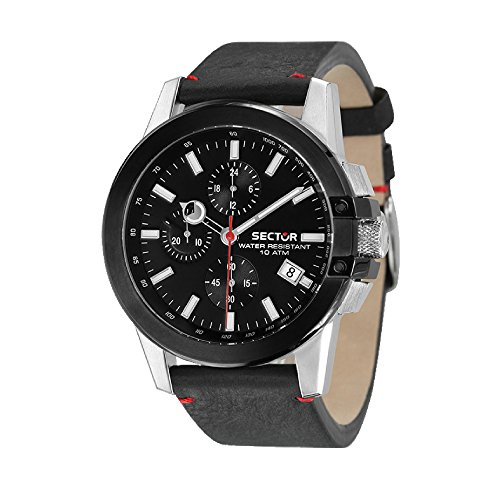 SECTOR Herren Chronograph Quarz Uhr mit Leder Armband R3271797004