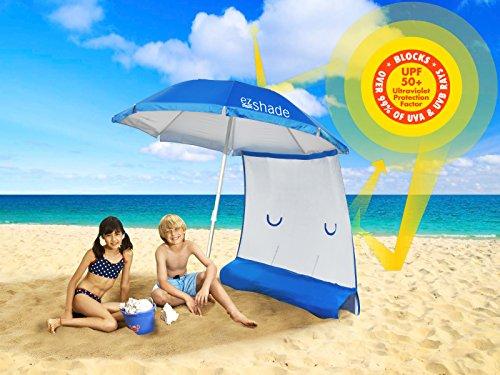 ezShade Superior Sun Protection, 7' Steel Beach Umbrella & Sunshield Combo, Blocks 99% UVA/UVB,...