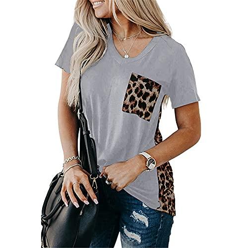 Manga Corta Mujer T-Shirts Personalidad Moda Verano Cuello Redondo Empalme Mujer Tops Chic Leopardo Girasol Estampado Diseñ Diario Casual Ligero All-Match Mujer Blusa B-Grey Leopard XL