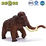 RECUR Woolly Mammoth 11' Long Realistic Jurassic Toys, Wildlife Stuffed Elephant with Tusks, Soft Hand-Painted Toy Figurine Model-1:10 Action Figures, Ideal Gift for Collectors Kids Ages 3 and Up