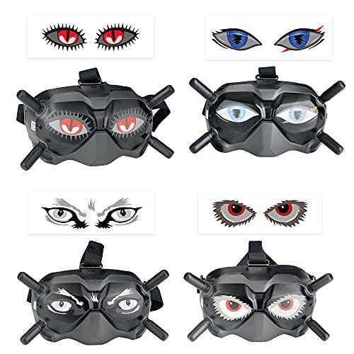 LOVONLIVE Adesivi per DJI FPV, adesivi per occhi Decalcomanie della pelle, adesivo in PVC, pellicola protettiva per DJI FPV Occhiali V2 e VR (4 pz/set)