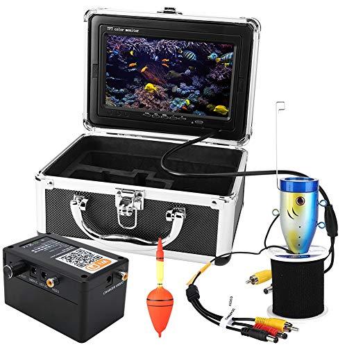 Fish Finder, 7 inch TFT-kleurendisplay onderwatercamera 2.4G WIFI kleuren CCD en 1000TVL viscamera 50m kabel 12Pcs infraroodverlichting voor boot- en ijsvissen, ondersteuning voor 3 mobiele apparaten APP (EU-stekker)