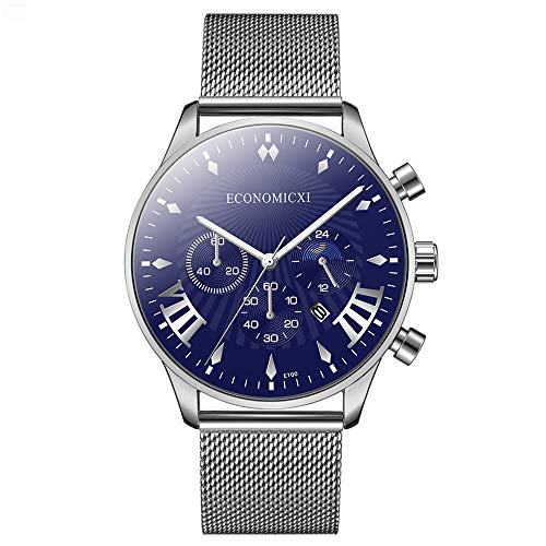 Moda Relojes Hombre Elegante Vestir, Reloj De Negocios De Moda para Hombres CinturóN De Malla De Acero Inoxidable Simple Cuarzo para Hombre Salvajere