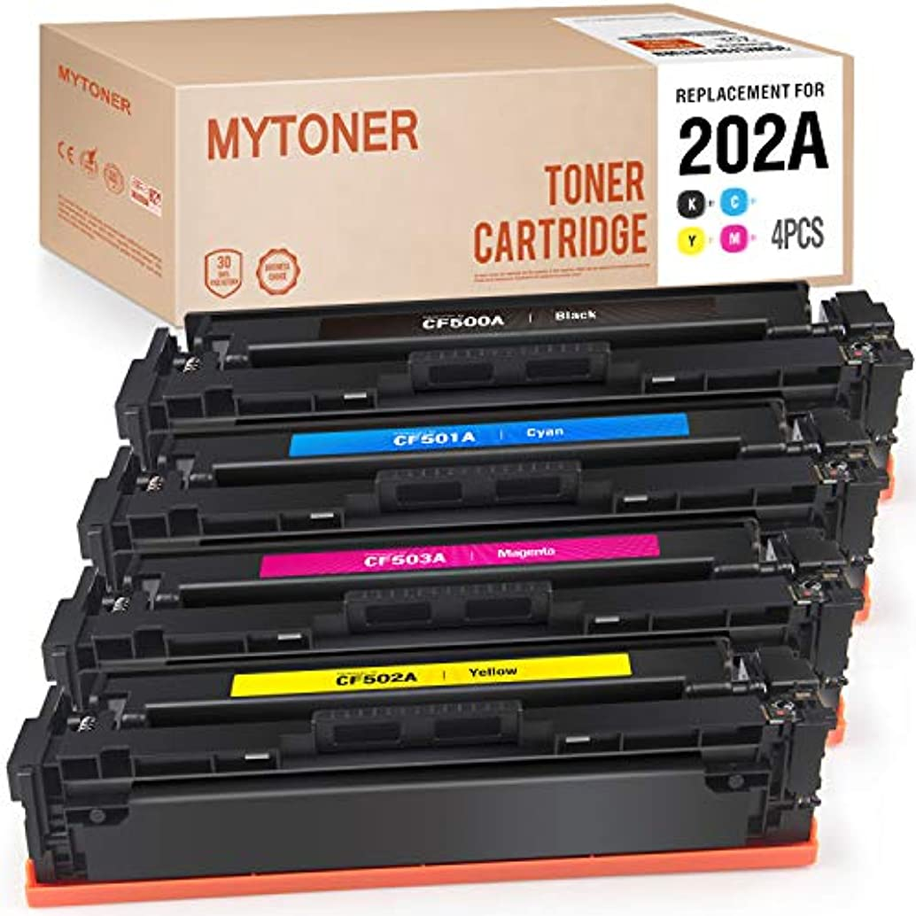 MYTONER Compatible Toner Cartridges Replacement for HP 202A CF500A 202X CF500X Toner for HP Color Laserjet Pro MFP M281fdw M281cdw M281dw M245dw M280 M281 Printer Ink (Black Cyan Magenta Yellow, 4Pk)