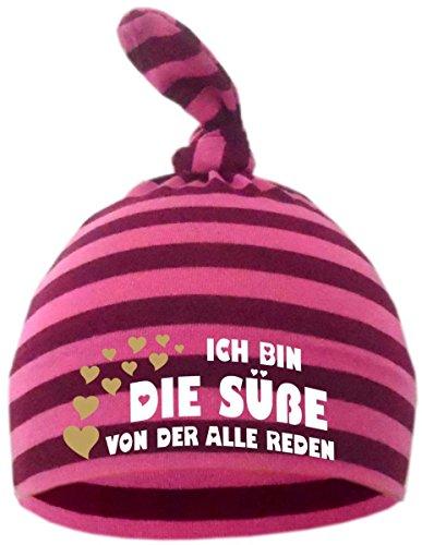 KLEINER FRATZ Baby Zipfel Mütze gestreift (Farbe brombeer-pink) (Gr. 2 (74-98) Ich bin die Suesse von der alle reden