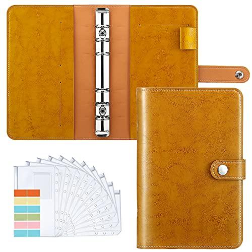 Housolution Carpeta de Cuaderno de 6 Anillas, Cubierta de Hojas Sueltas de Cuero de PU con 12 Sobres de Plástico Transparente con Cremallera A6, Bolsillo para Etiquetas de Cartón - Amarillo Vintage