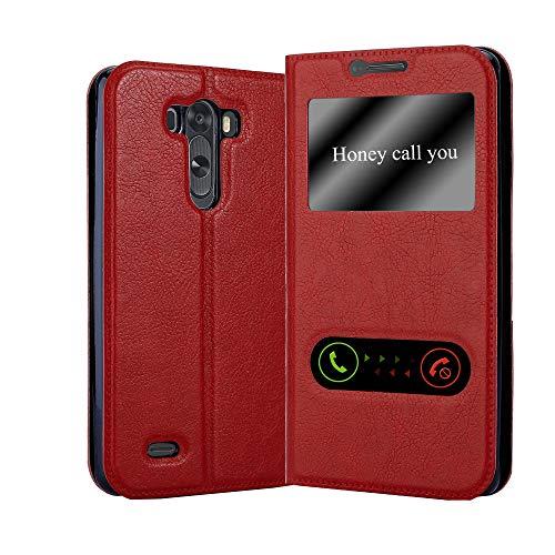 Cadorabo Funda Libro para LG G3 en Rojo AZRAFÁN - Cubierta Proteccíon con Cierre Magnético, Función de Suporte y 2 Ventanas- Etui Case Cover Carcasa