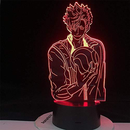 Tetsuro KUROO3D Illusionslampe, Weihnachtsgeschenk, Nachttischlampe, 16 Farben, dimmbar, mit Fernbedienung, Smart Touch, Weihnachts- und Geburtstagsgeschenke für Jungen und Kinder