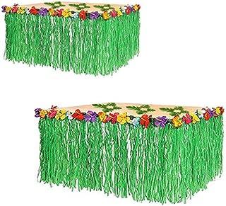 Adorox (2 Table Skirt) Hawaiian Luau Hibiscus Green Table Skirt 9 Ft Party Decorations