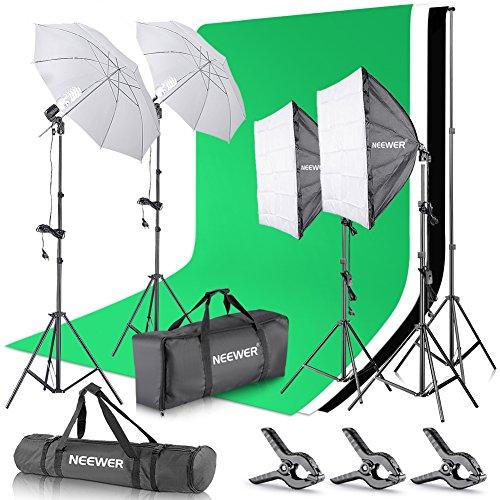 Neewer Kit pour Studio Photo et Production vidéo (avec Support de 2,6 m x 3 m, Fonds, réflecteurs Parapluie et softbox 800 W 5500 K)
