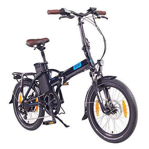 """NCM London Vélo Pliable électrique 20"""" Bleu Marine, Autonomie maximale 90Km, Moteur DasKit, Dérailleur Shimano 7 Vitesses, Selle Royale, Pneus Schwalbe, Freins Tektro, Fourche Zoom"""