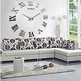 Fancy Decor Modernes Wandbild, Bastel-Set, Rahmenlose Quarz-3D-Wanduhr, groß, Spiegel-Oberfläche, für Wohnzimmer Schlafzimmer,...
