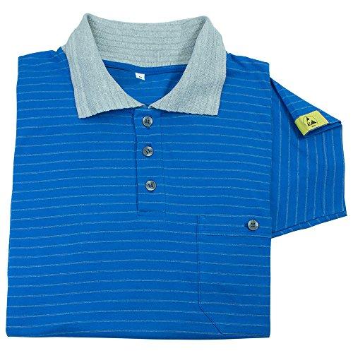 Wetec ESD-Polo-Shirt, mit grauem Kragen, M, blau