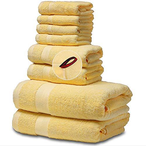 SEMAXE Towel Bath Towels Set, 8-Piece Towel Set for Bathroom 100% Made of Cotton Super Absorbent...