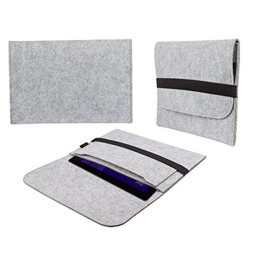eFabrik Tasche für TrekStor SurfTab wintron 10.1 3G (10,1 Zoll) Volks-Tablet pro Hülle Schutztasche Schutzhülle Cover Hülle aus Filz Grau