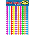 """Pack of 4200 3/4"""" Round Color Coding Circle Dot Labels, 10 Bright Neon Colors, 8 1/2"""" x 11"""" Sheet, Fits Any Printer"""