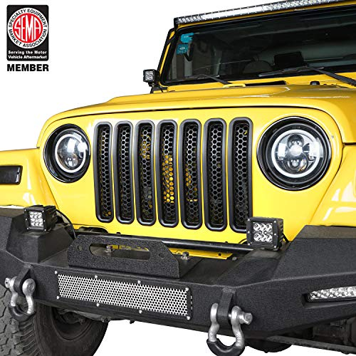Hooke Road Black Front Grill Mesh Inserts Clip-in Honeycomb Grille Guards for 1997-2006 Jeep Wrangler TJ & Unlimited (Pack of 7)