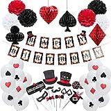 Easy Joy Decoration Anniversaire Magie Enfant Kit Happy Birthday Pompon Papier Rouge Noir Ballon Deco + Photobooth Magie