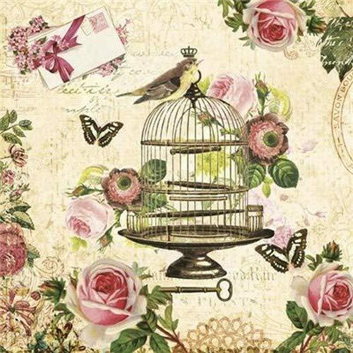 Servietten Alt und Modern 20 servilletas Vintage Jaula de pájaros para decoupage y servilletas con pájaro y Rosas 33 x 33 cm
