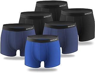QINCAO Boxers Homme Lot de 6 Coton sous-vêtement Fitted Trunk Caleçons Ultra Doux Confortale S, M, L, XL, XXL, XXXL