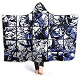 Mikalaaro My Hero Academia Collage Anime Might Hooded Blanket Throw Wearable Cloak Warm Plush Super Soft Lightweight Flannel for Sofa Lounge Bed Napping All Season L(80x60in) for Adults