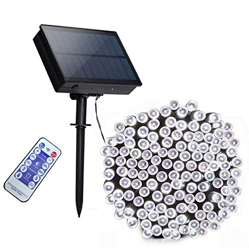 Aujelly 72ft 200 LED Solar String Lights Outdoor Waterproof Remote Control 8 Modes String Solar Powered Fairy Lights for Tree, Patio, Garden, Yard, Home, Wedding, Party (Cool White)