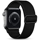 Witzon Compatible with Apple Watch Band 40mm 38mm for Men Women, Elastic Solo Loop Soft Breathable Braided Nylon Stretchy Bands for iWatch / Apple Watch SE Series 6 5 4 3 2 1, Black