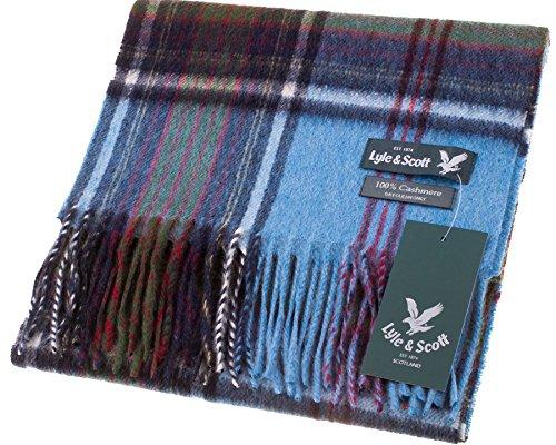 Lyle & Scott Unisex Cashmere Scarf In Air Blue Tartan Design 25.5 cm Wide