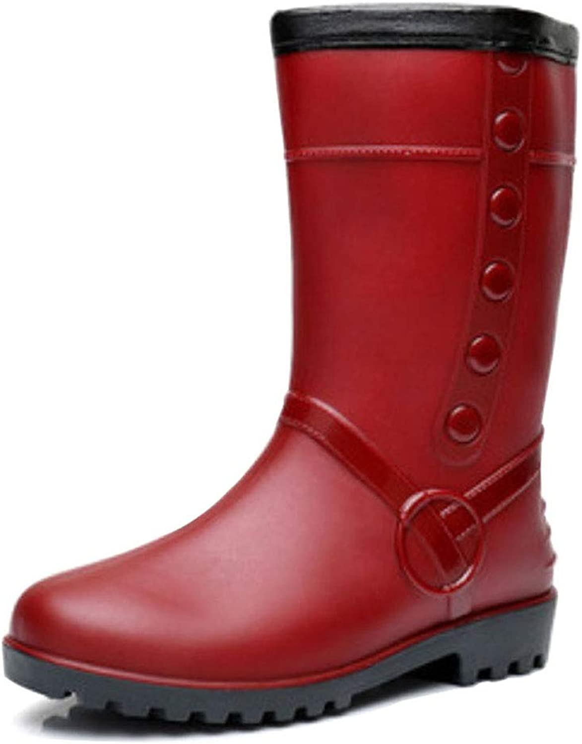 Uirend Wellingtons Boots for Women - Mid Calf Waterproof Warm Fur Lined Durable Wellies Rain shoes Predective Work Utility Footwear Easy to Clean Wide Fit