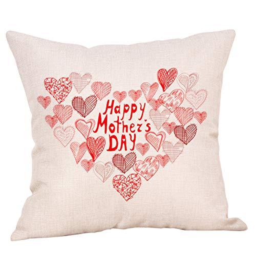 Ronamick Funda de almohada de lino impresa para el día de la madre, para sofá, decoración del hogar, funda de cojín cómoda, para coche, 45 x 45 cm (multicolor)
