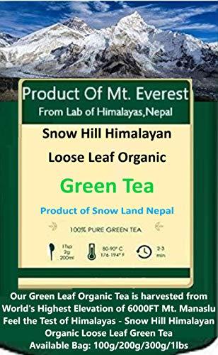 SNOW HILL HIMALAYAN, Organic Green Tea Leaves From Himalayas, Nepal -100% Natural Sun Dried Tea, POWERFUL ANTI-OXIDANTS, Brew Hot Tea Iced Tea or Kombucha Tea Loose Leaf Green Tea (100g   50 Cups)