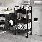 GHHYS Carrito de cocina de 4 niveles, carro de cocina con 4 ruedas, carro de servicio para cocina, baño, oficina, dormitorio, carrito de cocina, fácil montaje, 2 frenos, metal