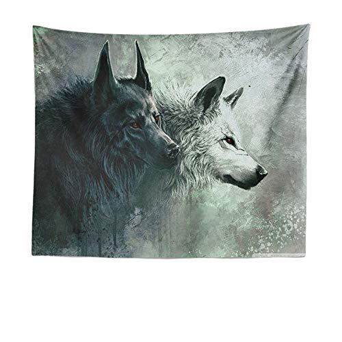 mmzki Animal Wolf Moon Totem Tapiz Tapiz de Playa Toalla de Playa LT-9 130 * 150cm