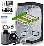 GreenHouser Grow Tent Kit Complete 32'x32'x63' Hydroponics Grow Tent and APE600 LED Grow Light Full Spectrum with 4' Inline Fan and Air Carbon Filter Ventilation Kit for Indoor Grow Tent Setup Kit