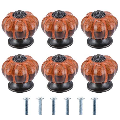 AusseL 6 pomos de cerámica para gabinete con diseño de leopardo, estilo vintage de leopardo, tiradores de armario de cocina, pomos redondos de 40 mm, color naranja