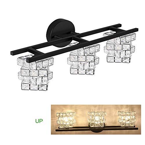 BDL Bathroom Vanity Light Fixtures 2020 New Black 3 Lights Crystal Shade Modern Wall Bar Sconce Mirror (Exclude Bulb)