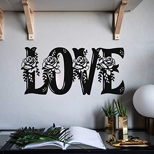 Amor etiqueta de la pared inscripción hermosas flores rosa vinilo etiqueta de la pared pareja romántica decoración del hogar 30 * 64 cm