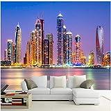 Yologg Papel Tapiz De Pared 3D Personalizado Papel Pintado Hermoso De La Ciudad De Dubai Paisaje Nocturno Papel De Pared Sala De Estar-120X100Cm