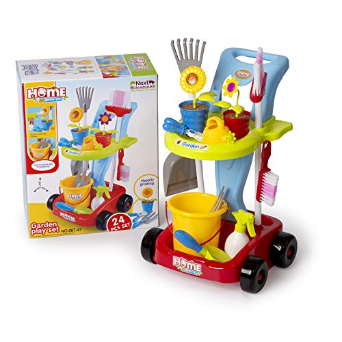 The M World Next Milestones Kids Cleaning Set Gardening Tools 24pcs Garden Housekeeping Toys with Leaf Rake, Watering Can, Gardening Hand Cultivator, Trowel Shovel All in One Gardening Trolley
