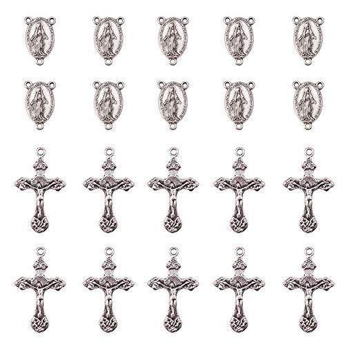 PandaHall 50 Sets/Caja Estilo Tibetano Oval con Virgen Santo